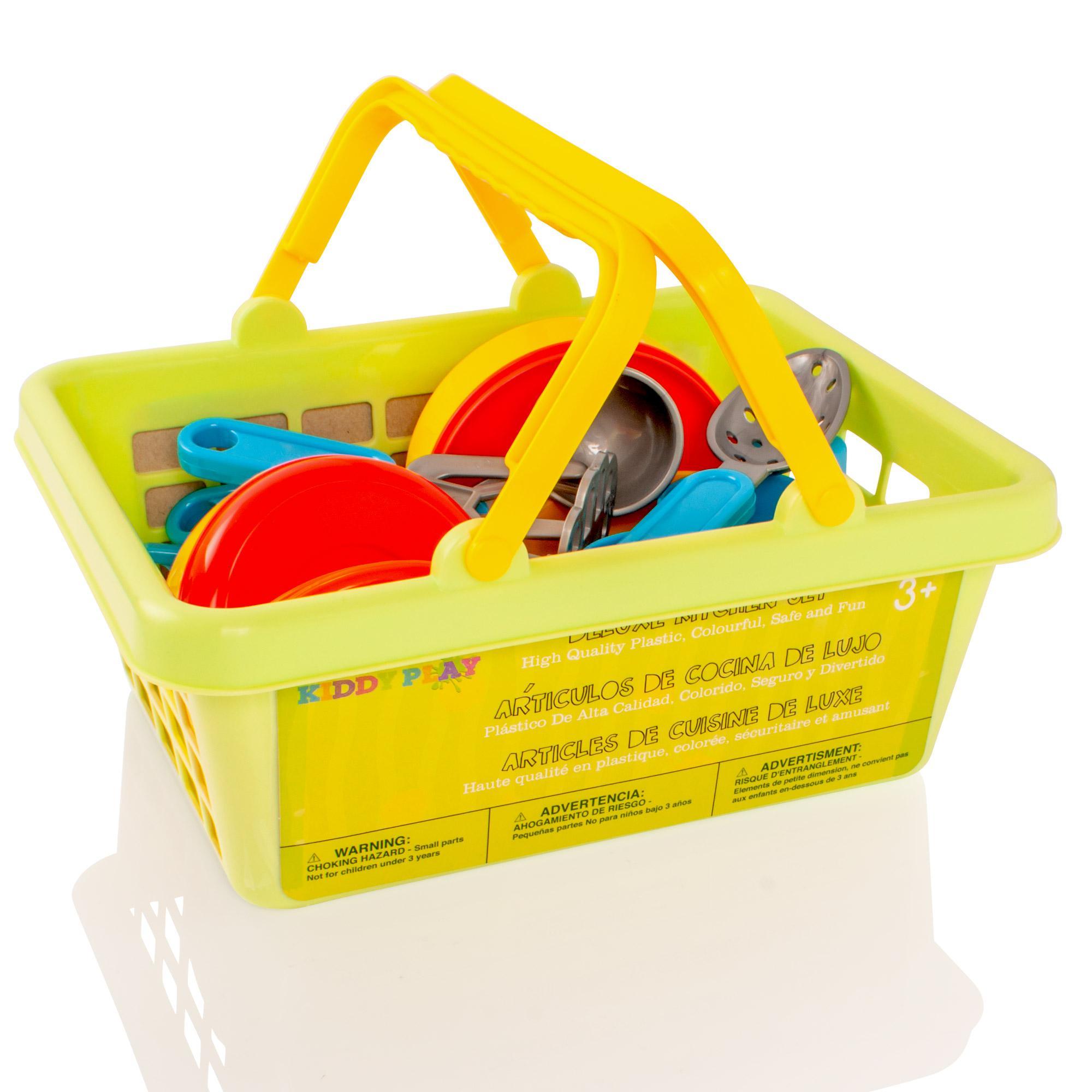KiddyPlay Tea set Cutlery Pans Childrens Kids Pretend Play Kitchen