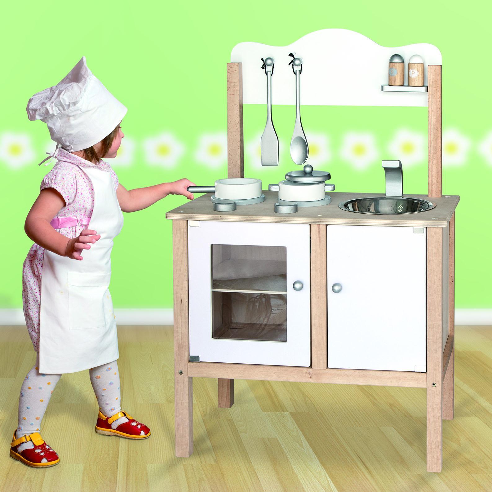 Childrens kids wooden pretend play kitchen toy play set oven sink hob