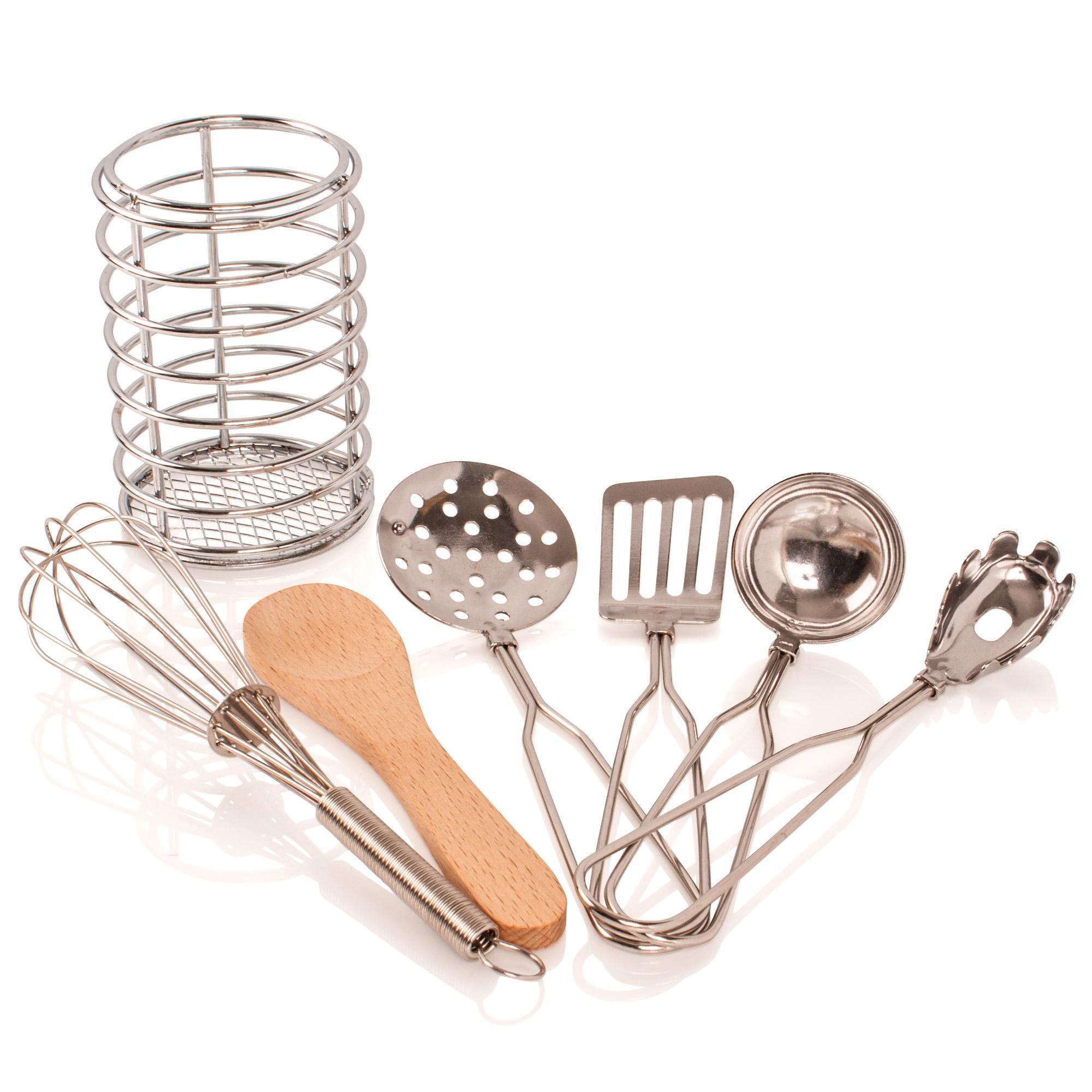Childrens Kids 7 Piece Play Toy Kitchen Utensil Cooking Cookware Accessories Set Ebay