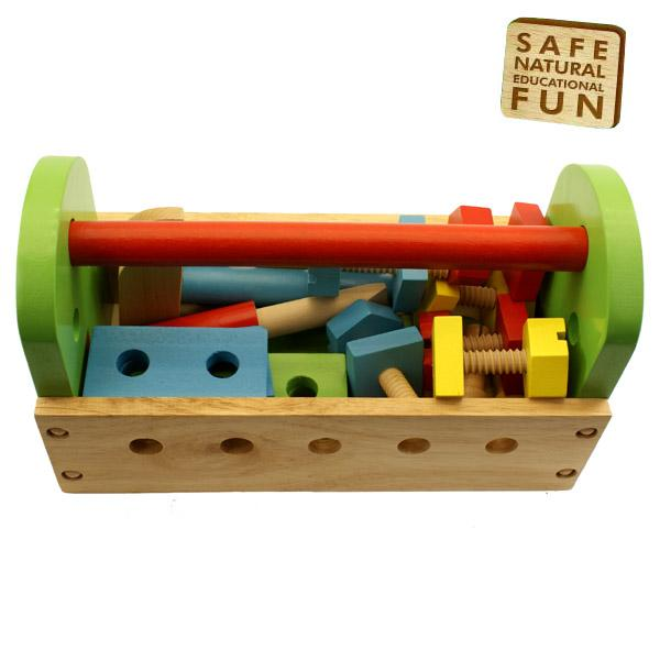 Toy Tools For Boys : New childrens kids wood piece play toy tool box kit set