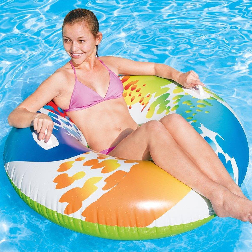 "47"" Inflatable Pool Swim Rubber Ring Tyre Beach Tube & Handles"