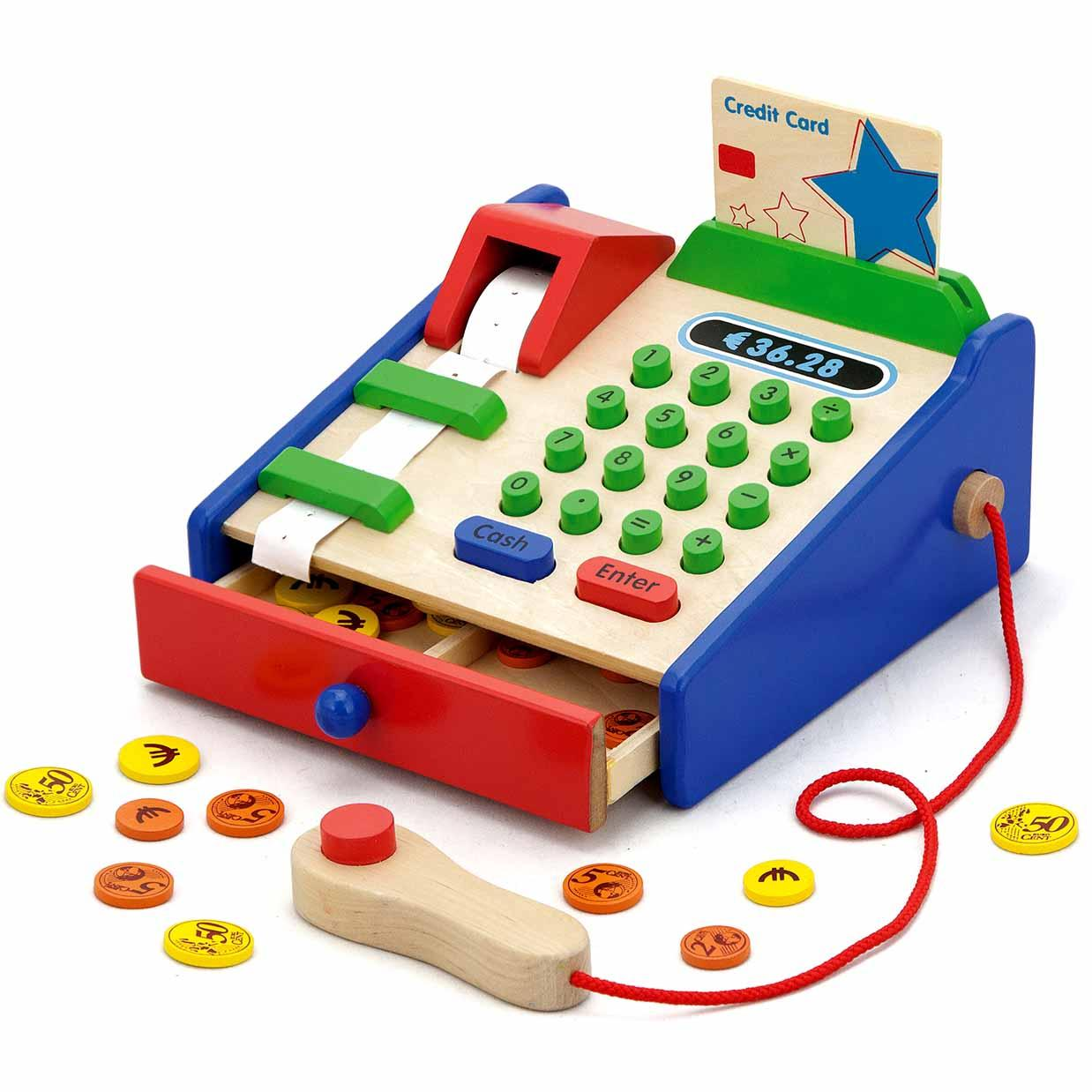 ... Wooden Checkout Cash Register Shop Supermarket Till Pretend Play Toy