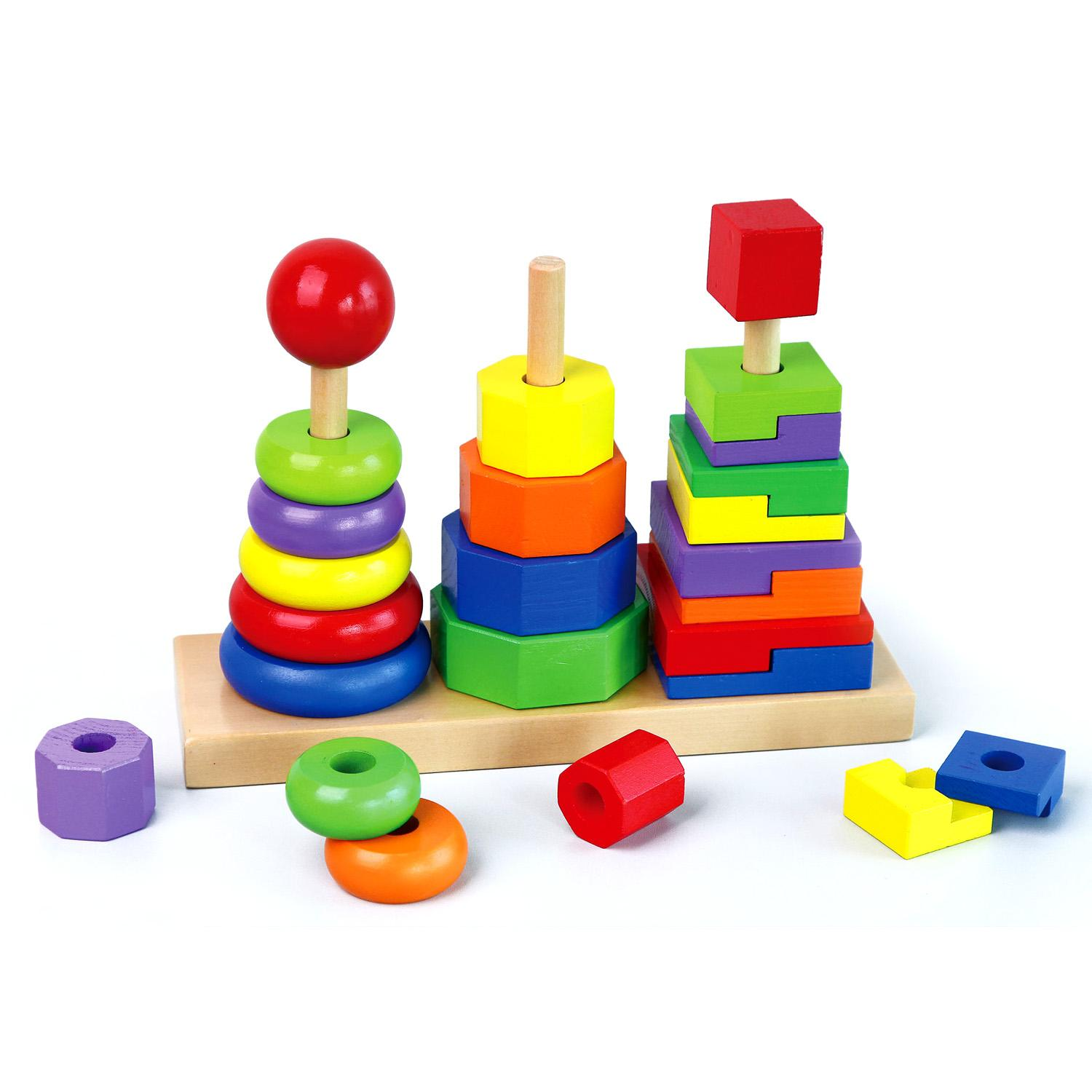 Geometric Stacker Childrens Wooden Educational Stacking Blocks