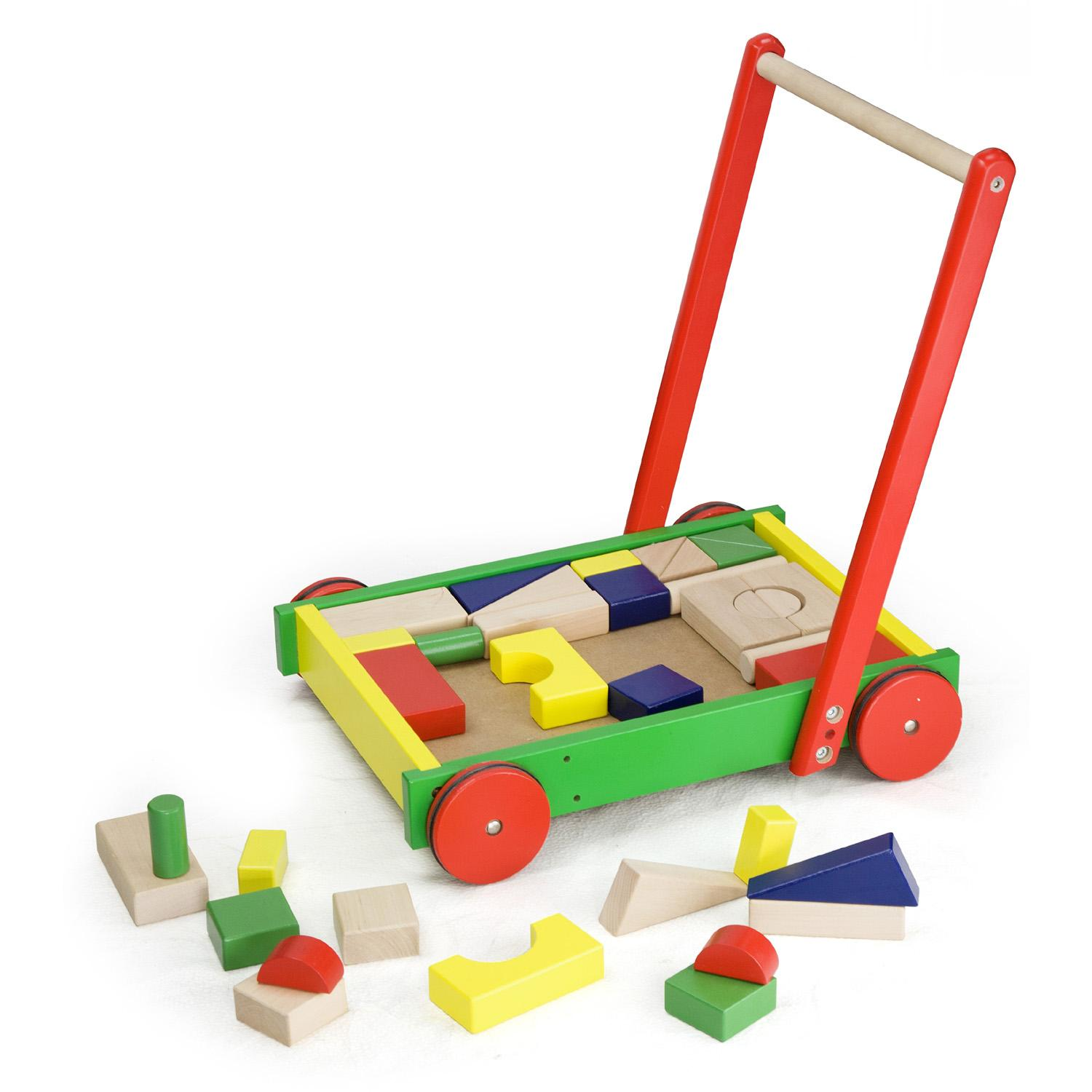 Push Along Wooden Toddlers Baby Walker & Building Stacking Blocks