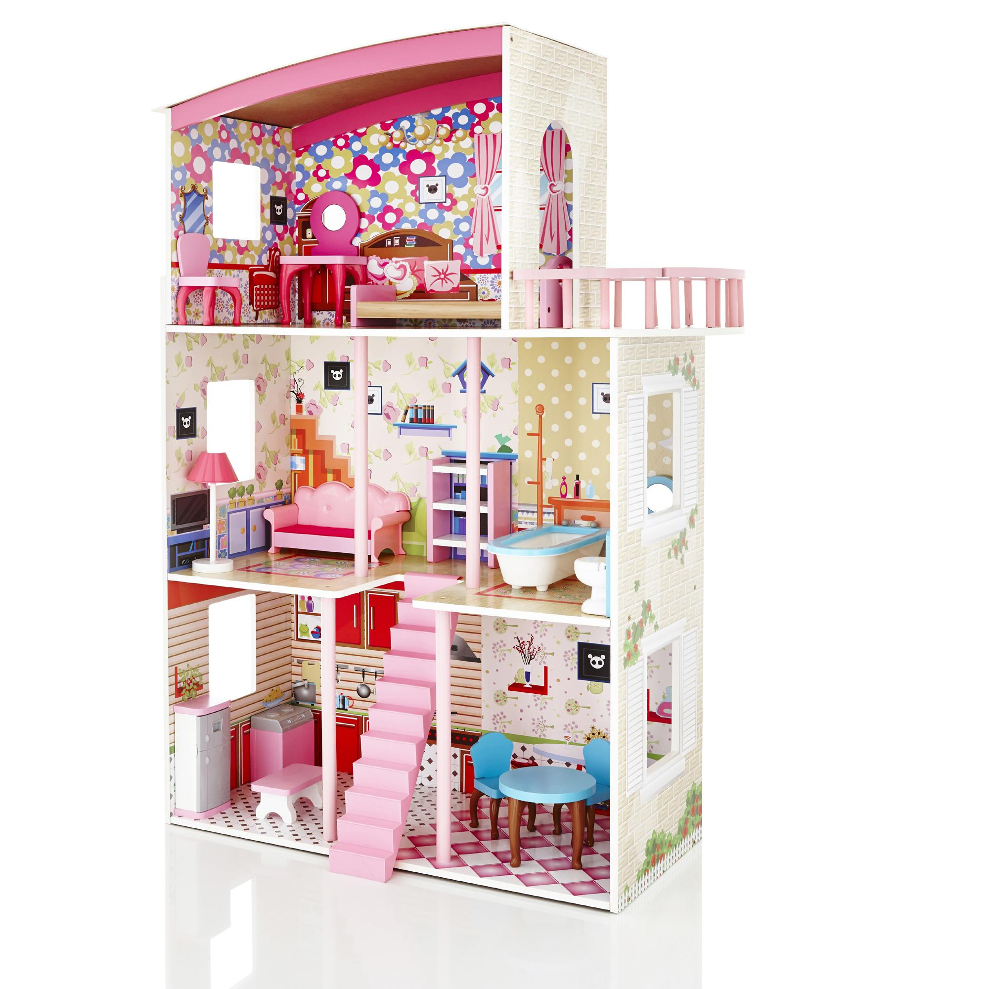 molly dolly large wooden dolls house dollhouse 15. Black Bedroom Furniture Sets. Home Design Ideas