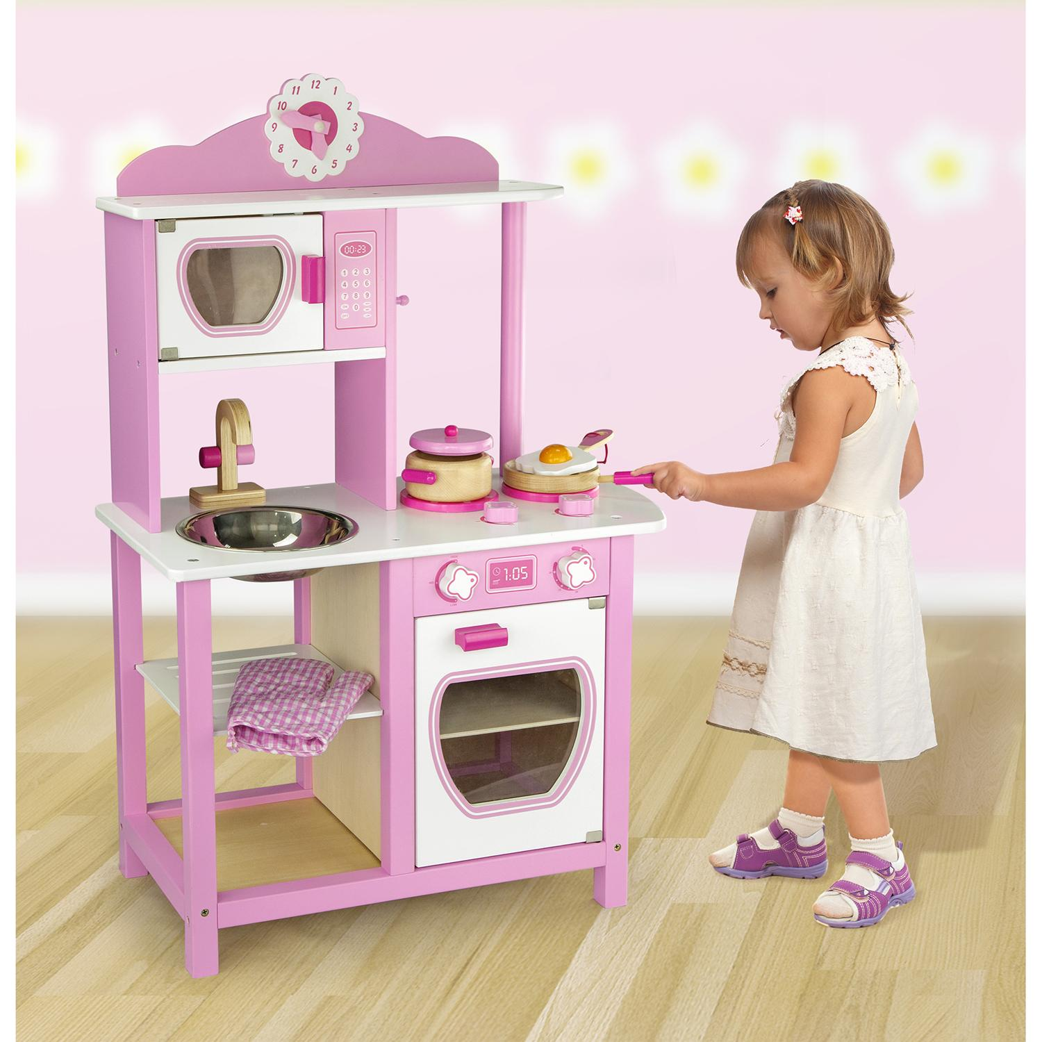 Childrens Kids Pink Wooden Pretend Play Kitchen Toy Play Set Oven Sink Hob Pans Ebay