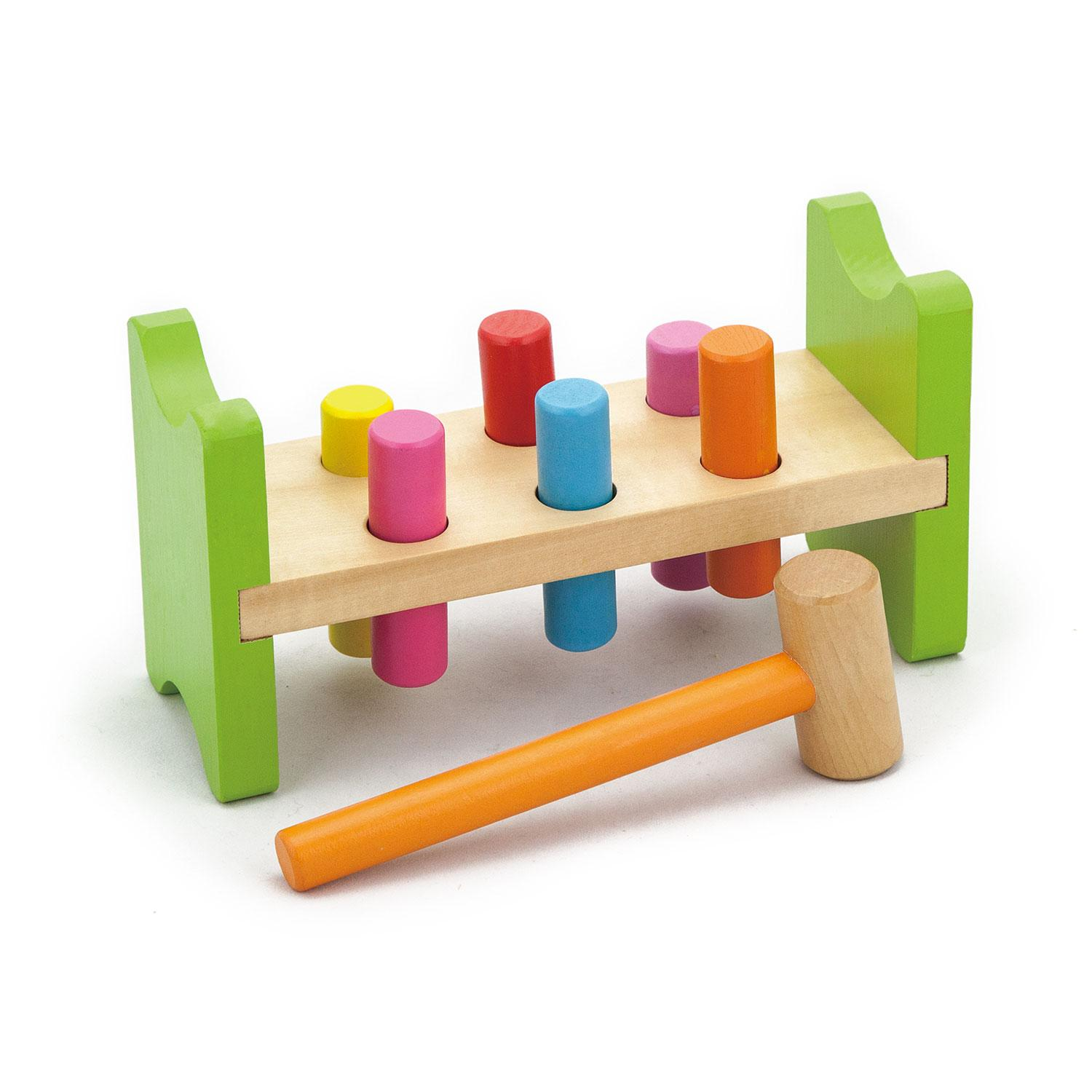 Hammer Game Toy : New childrens wood pound a pegs bench hammer baby toddler