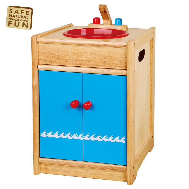 Blue Wooden Play Kitchen new wooden washing sink & taps pretend play-kitchen wood toy play
