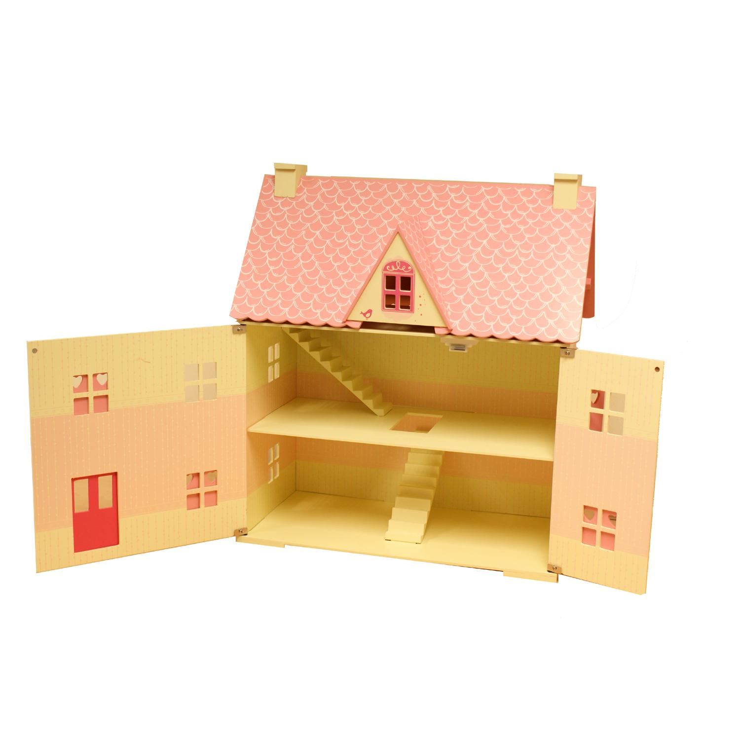 Rose Cottage Girls Pink Wooden Wood Dolls Doll House Free 22 Pce Furniture Set Ebay