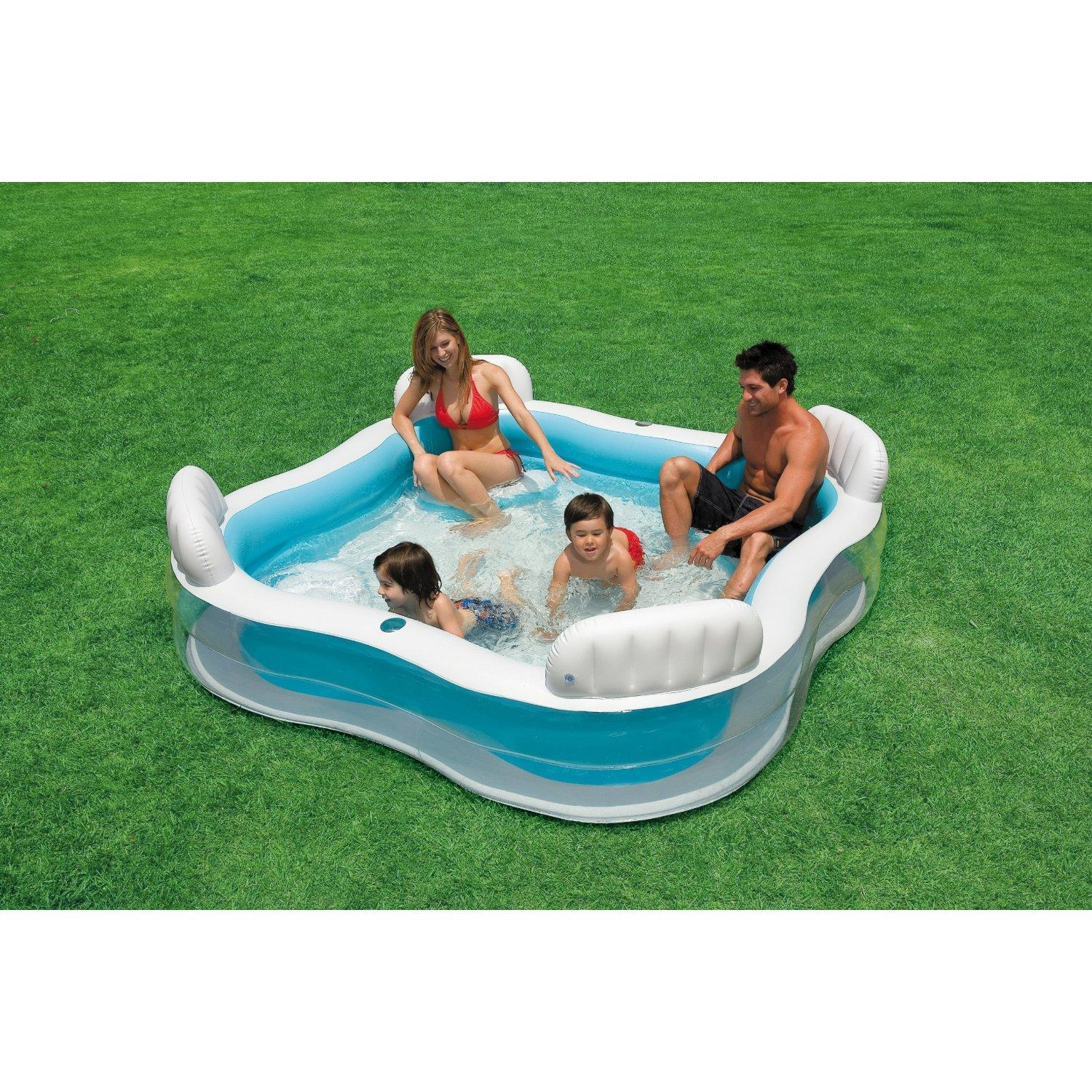 Intex inflatable swim centre family lounge large paddling for Aspirateur robot intex