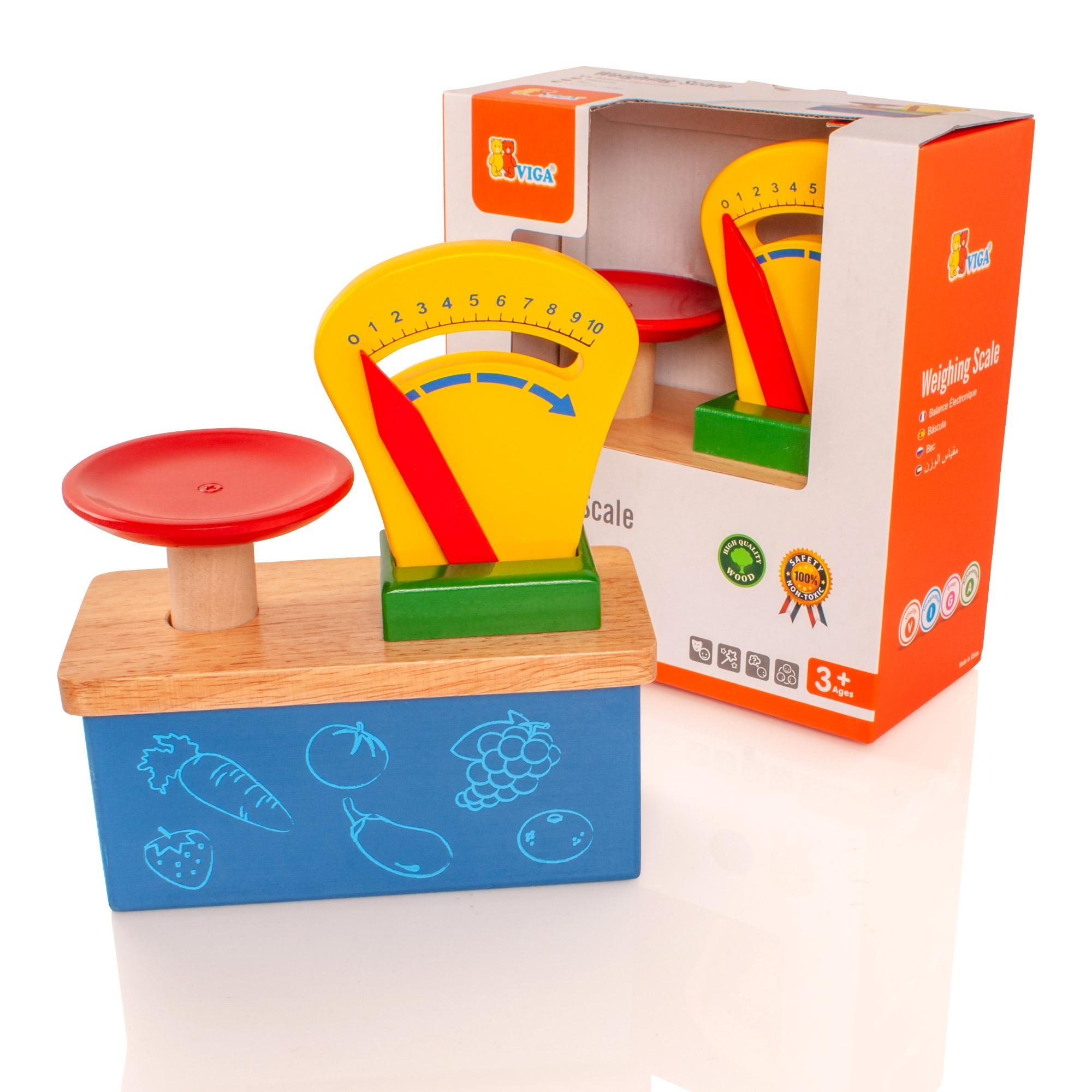 Childrens wooden kitchen shop weighing scales pretend play for Cuisine wooden