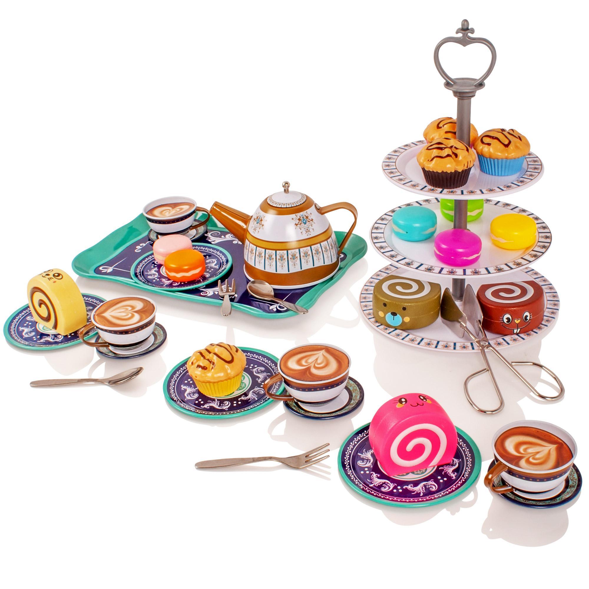 Childrens Kids Metal Tea Set Pretend Play Toy Kitchen Kettle Teapot Cups Saucers Ebay