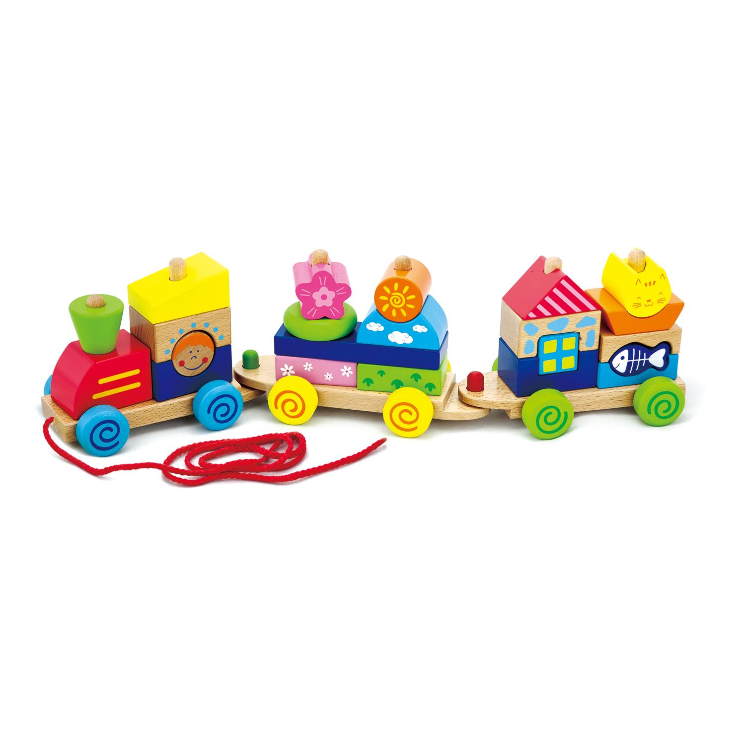 New Wooden Building Blocks Stacking Pll Along Childrens Kids Train