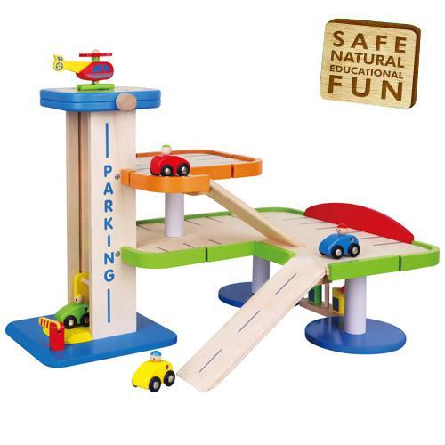 Toy Garages For Boys : Childrens kids wooden multi storey car park boys garage