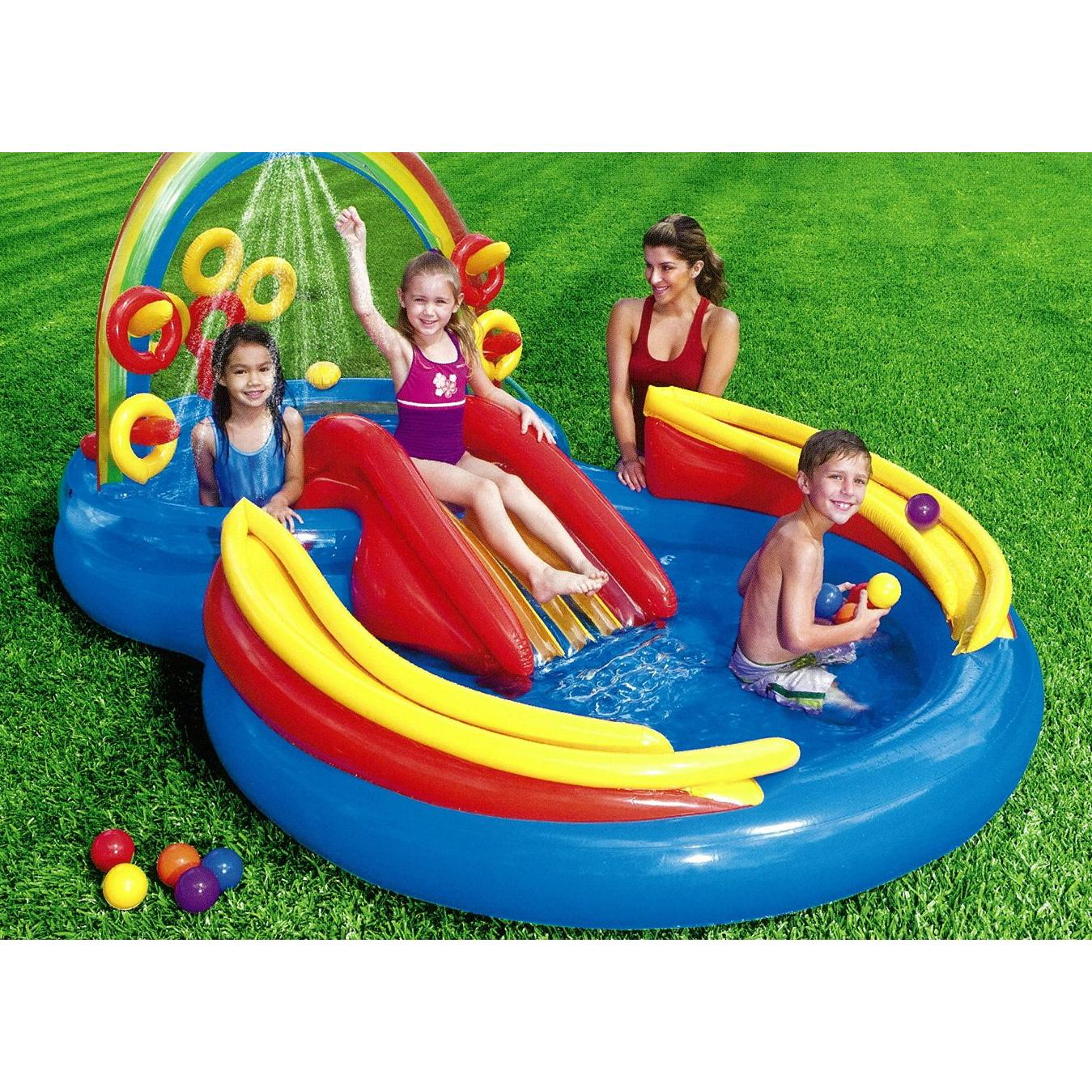 Inflatable Slide Paddling Pool: Intex Rainbow Rings Kids Activity Water Play Centre