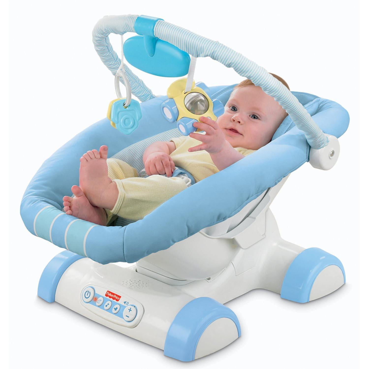 Fisher Price Blue Cruisin Motion Soother Baby Chair Seat Rocker