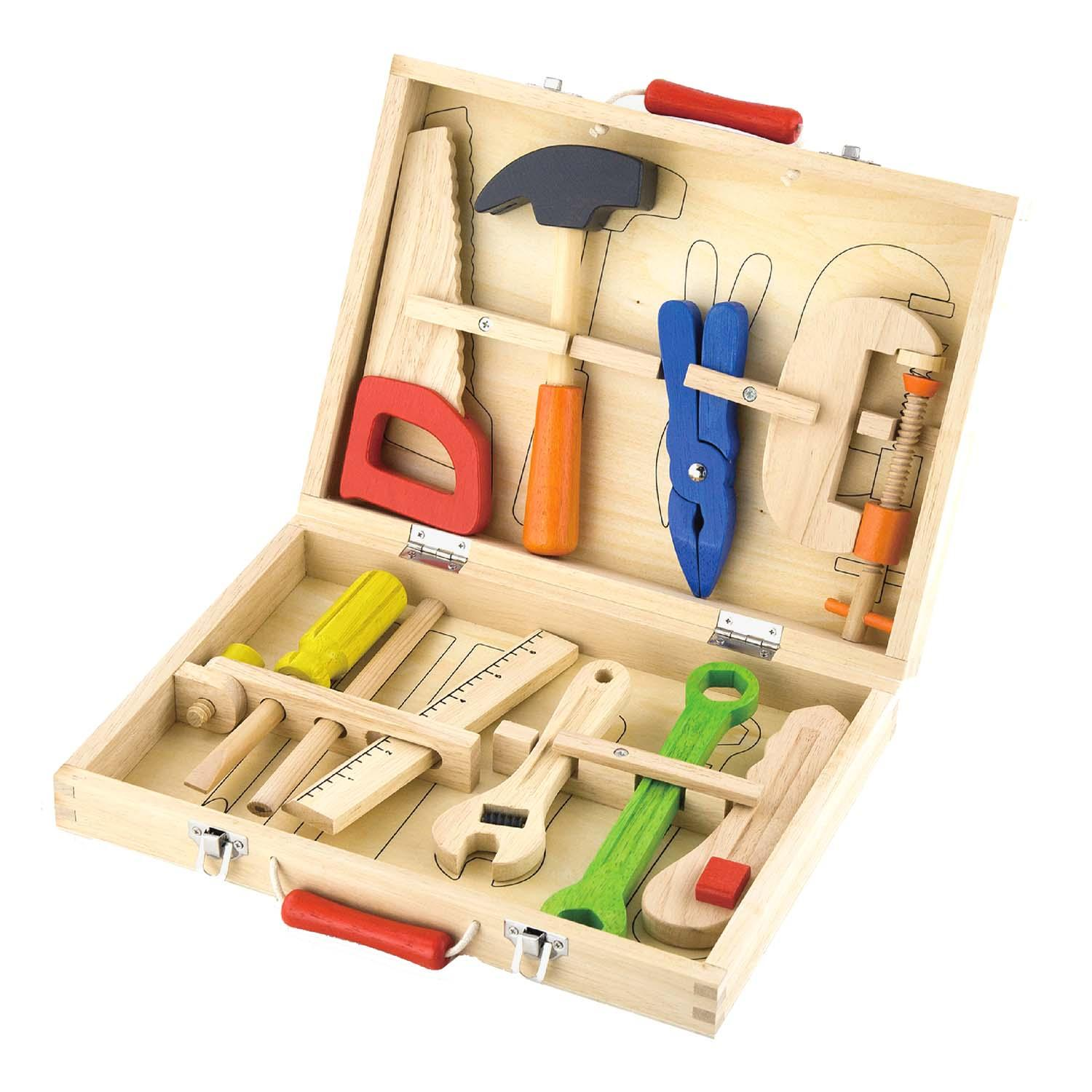 Toy Tools For Boys : Childrens wood piece play toy tool box kit set