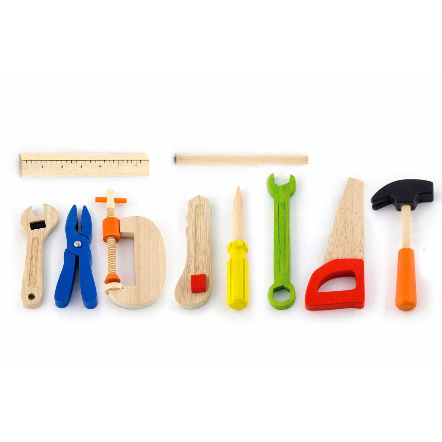 Toy Tool Sets For Boys : Childrens wood piece play toy tool box kit set