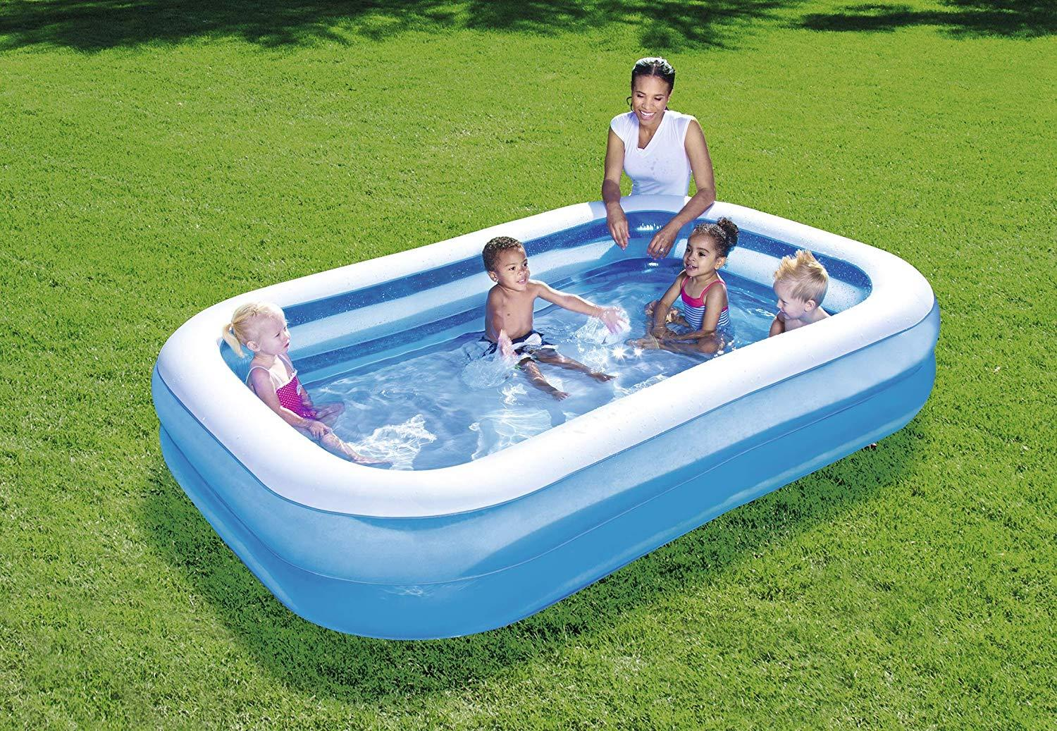 Bestway Inflatable 7 Ft Foot 2m Blue Rectangular Family Swimming Paddling Pool Ebay