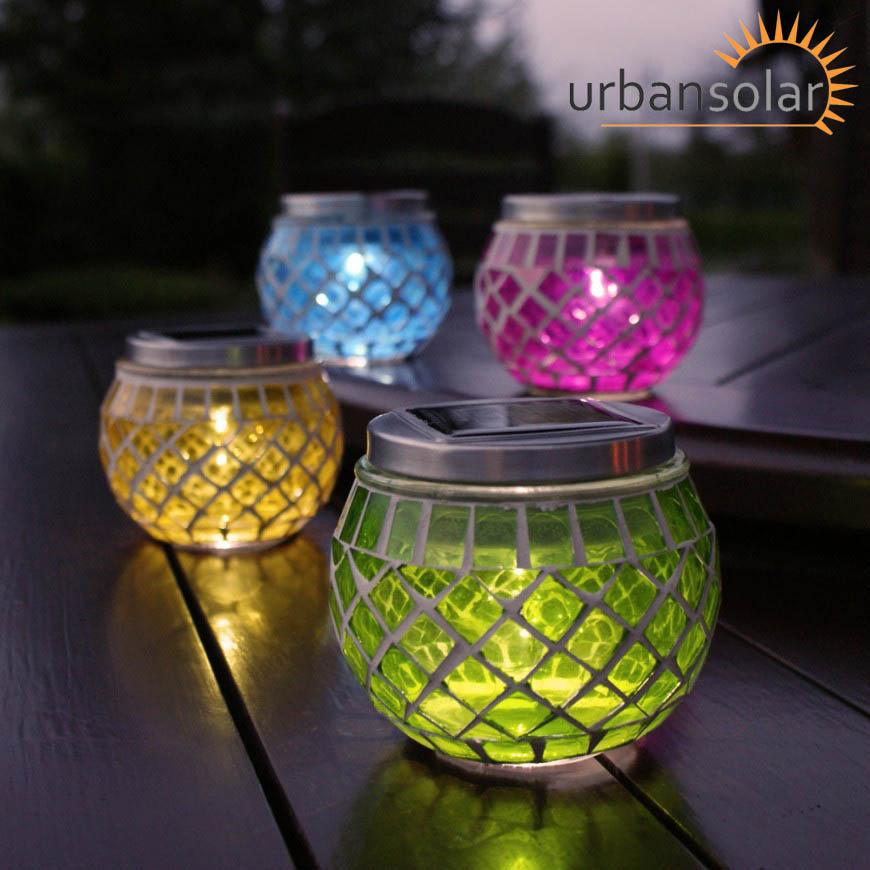 Urban Solar 4 Mosaic LED Powered Battery Operated Candle ...