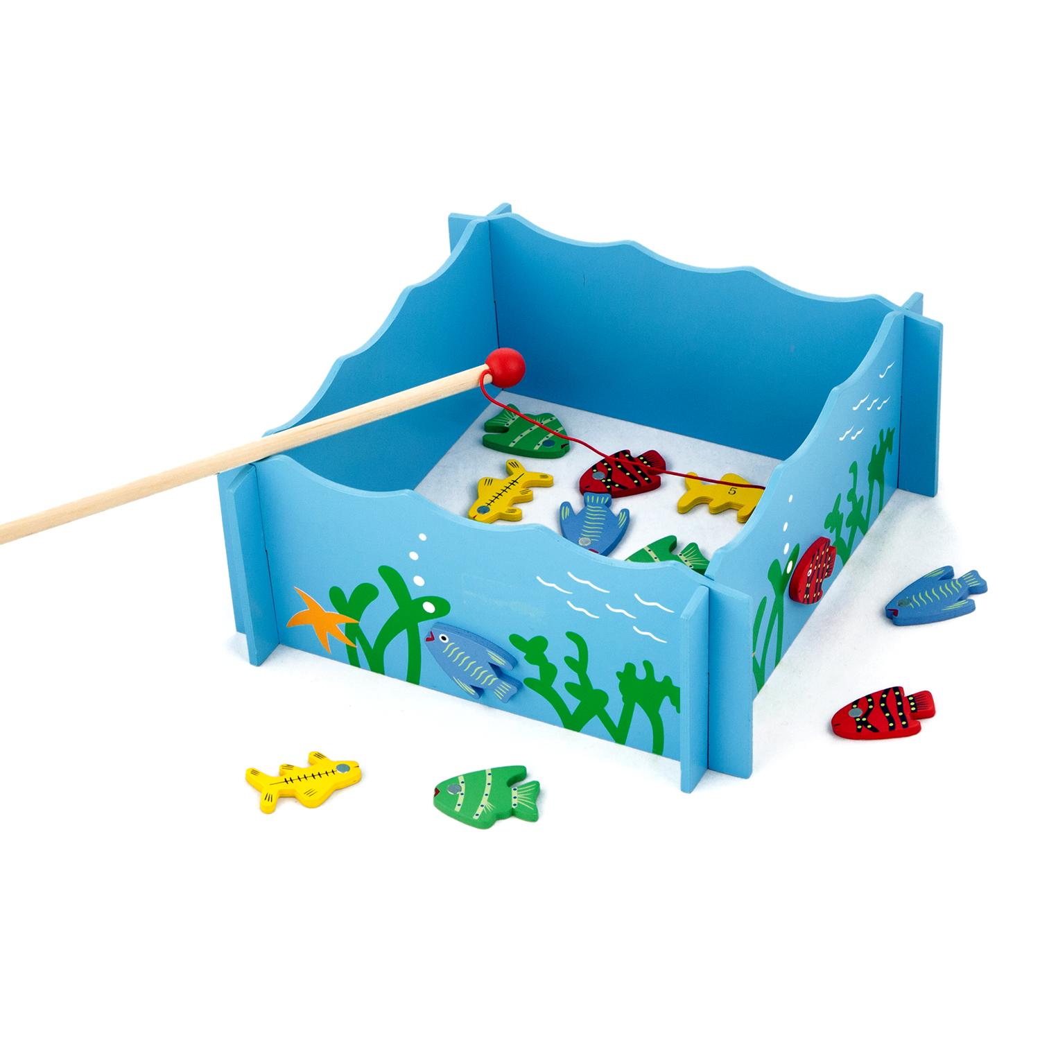 Buy wooden magnetic fishing game wooden toys net price for Kids fishing game