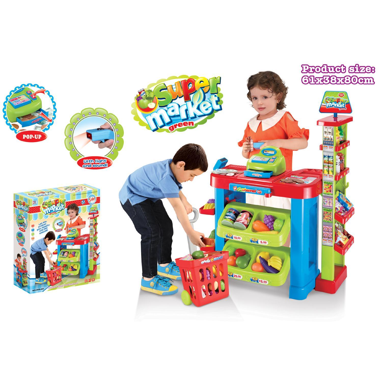 Childrens/Kids Supermarket Shop Stall Pretend Toy Food ...