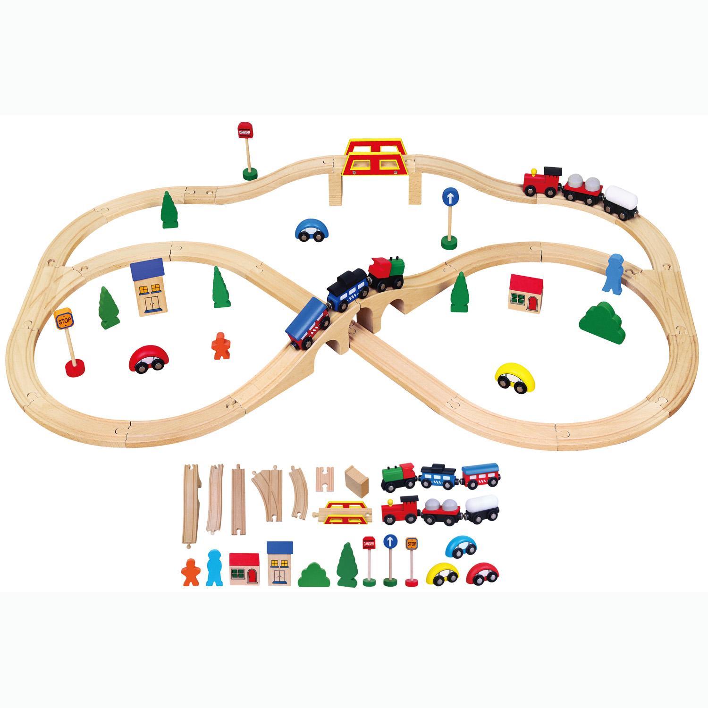 wooden train set 49 piece viga wooden toys net price. Black Bedroom Furniture Sets. Home Design Ideas