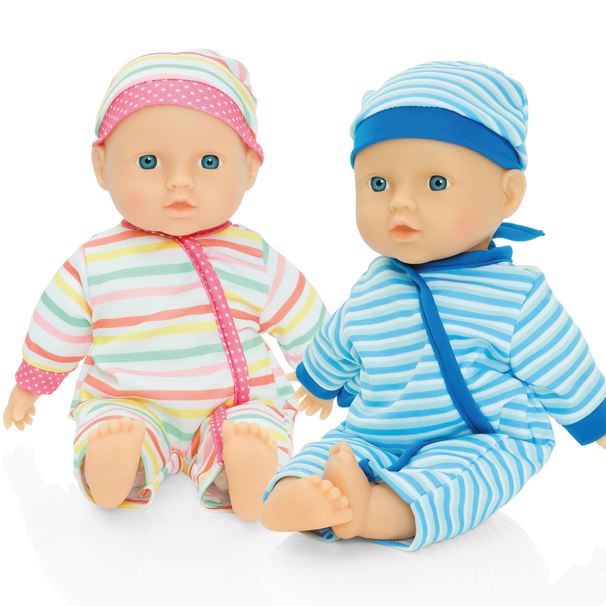 Molly Dolly Twin Baby Dolls 30cm Soft Bodied Vinyl Dressed ...