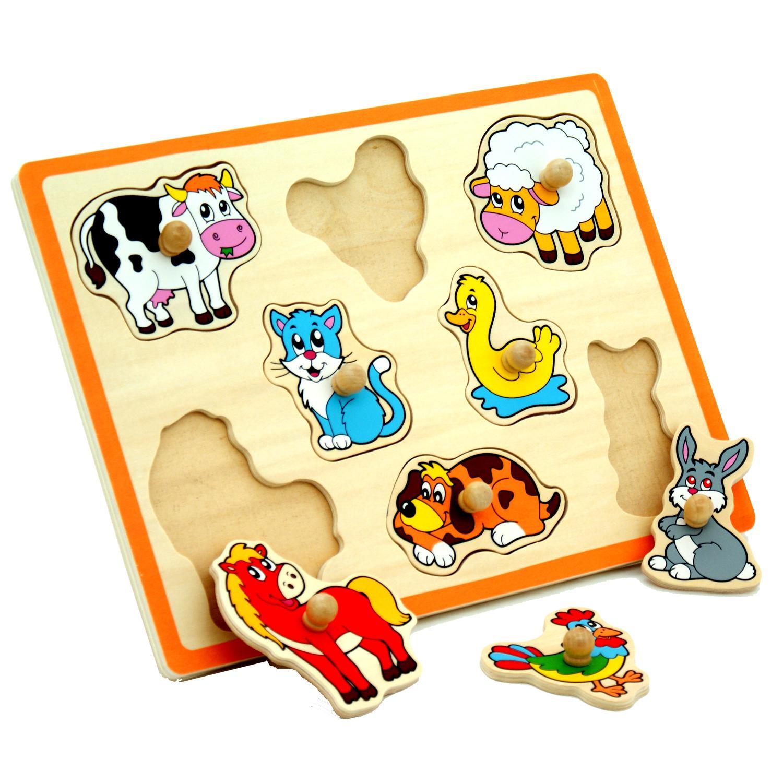 Wooden Farm Animals Childrens Chunky Jigsaw 1st Peg Pull