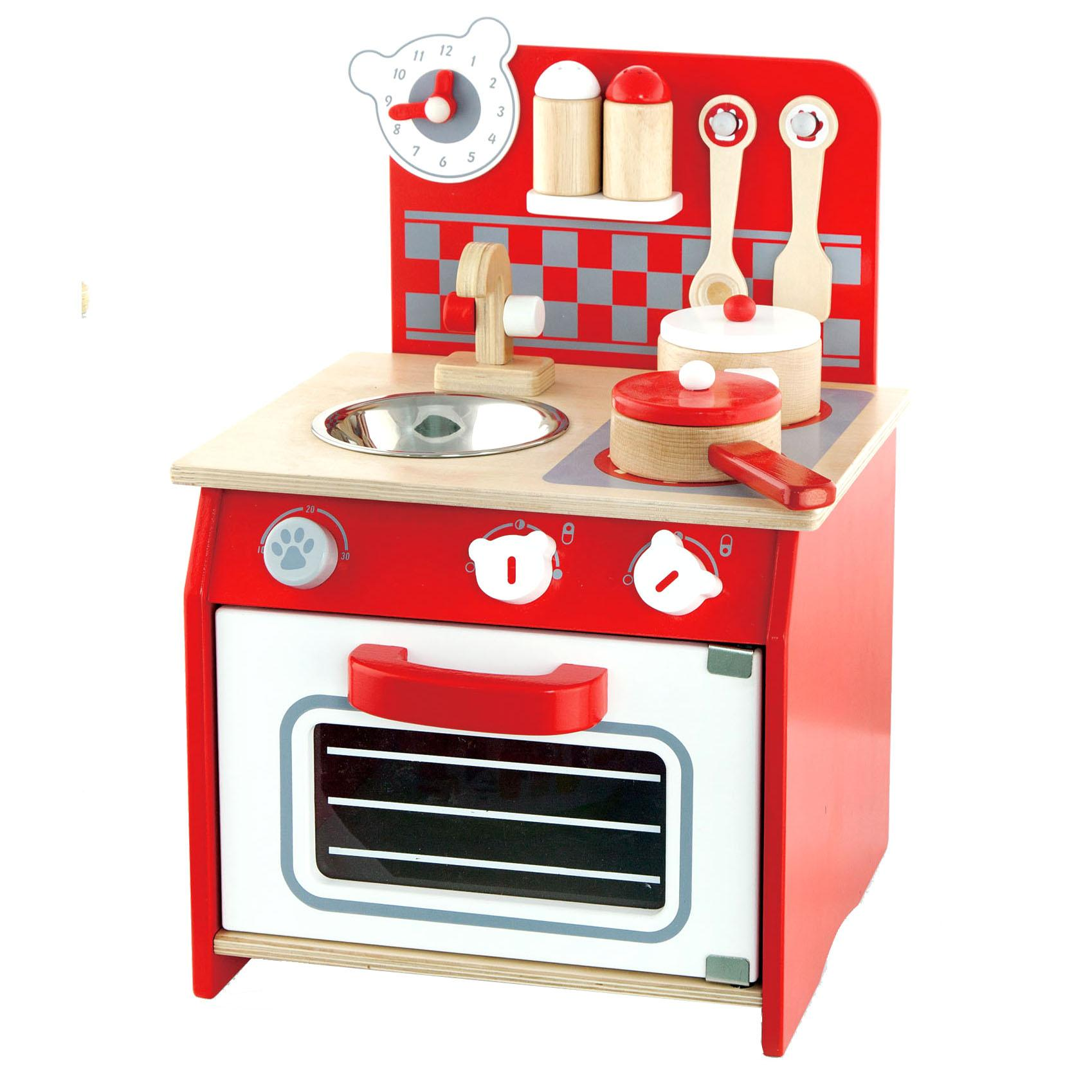 wooden childrens kids first mini toy kitchen pretend
