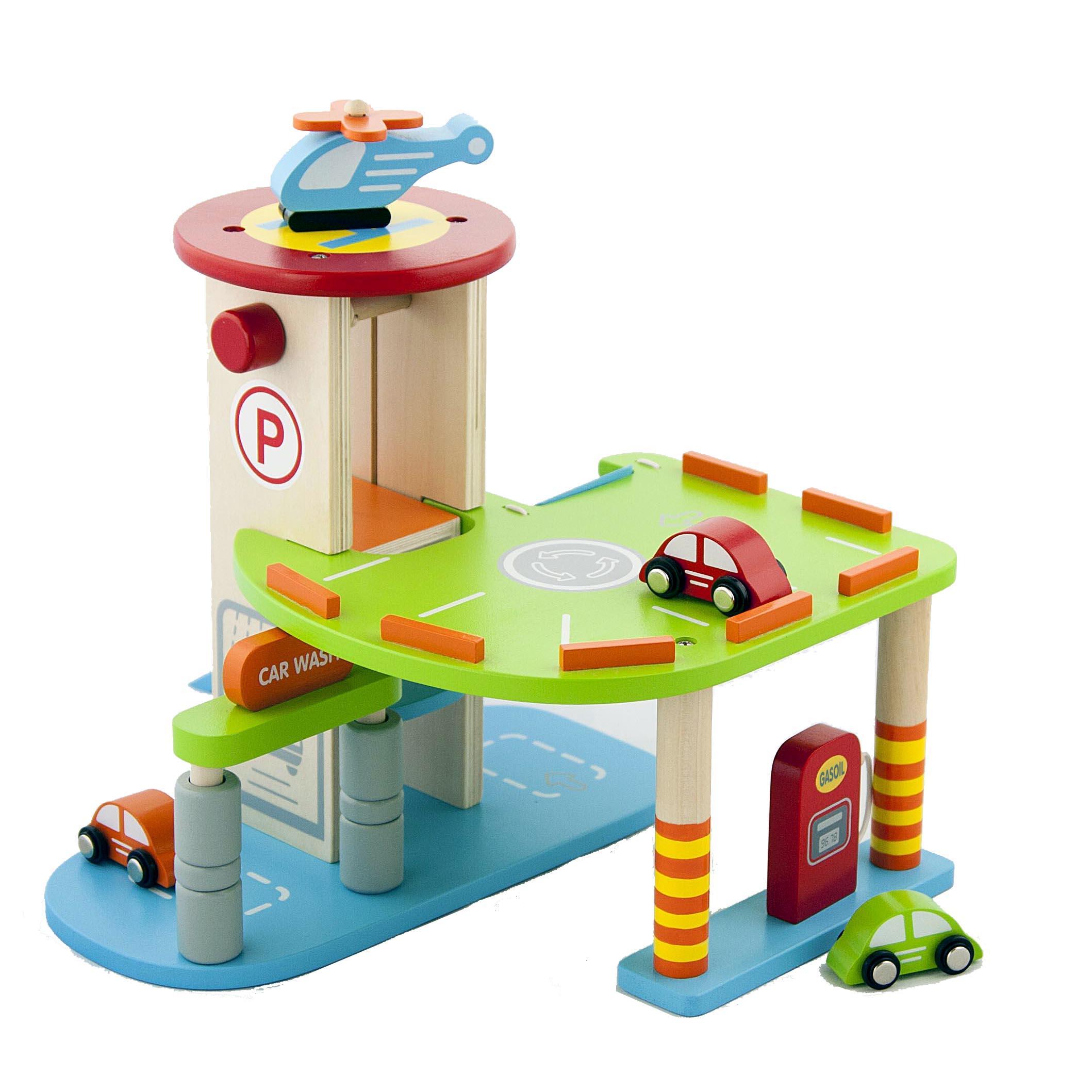 My First Wooden Toy Car Parking Garage Childrens Kids Wood