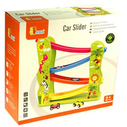 Wooden Childrens Kids Car Slider Click Clack Race Track Wood Run Toy ...