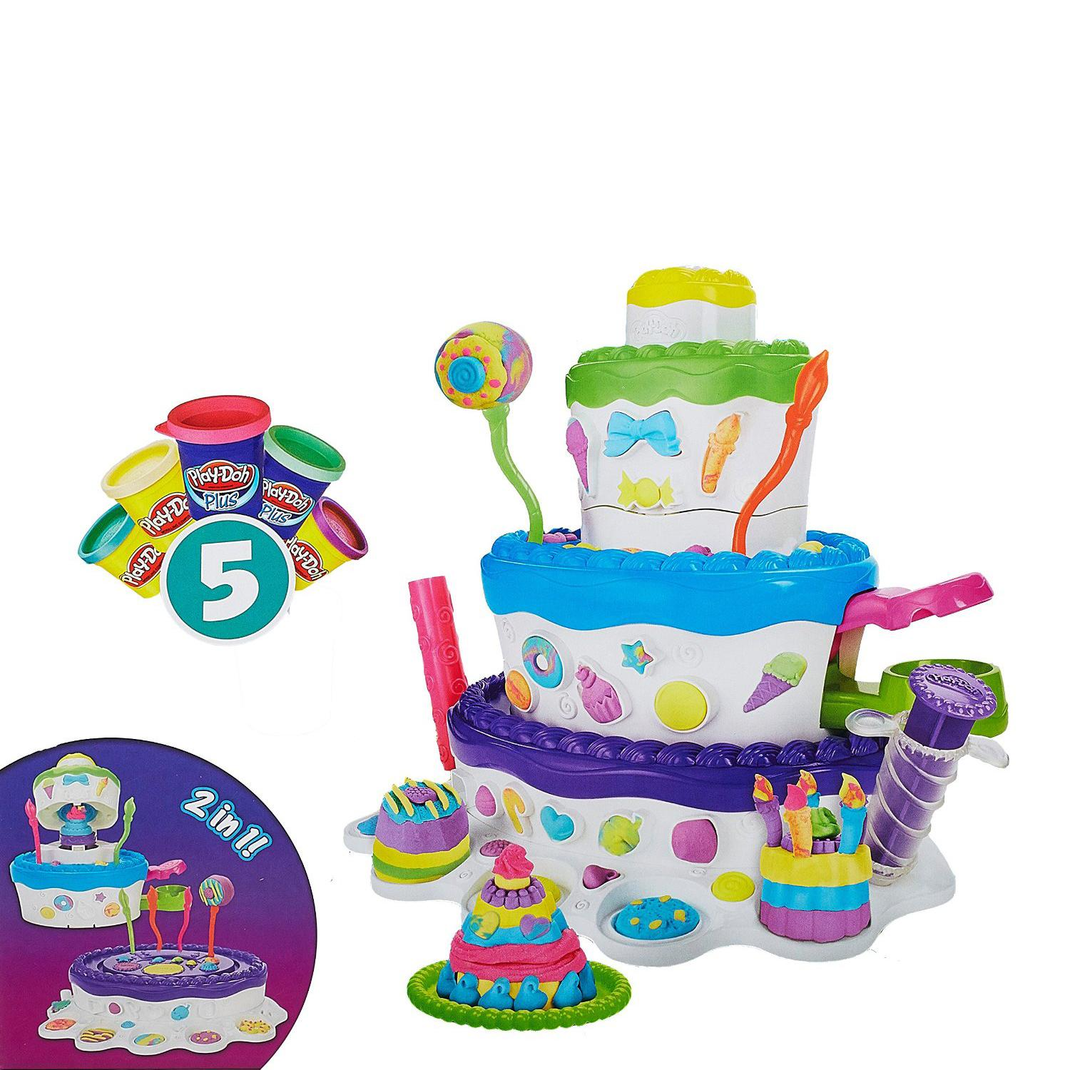 Playdough Cake Decorating Kit : Play-Doh Cake Mountain Childrens/Kids Play-set 3 Modelling Dough Tubs/Pots eBay