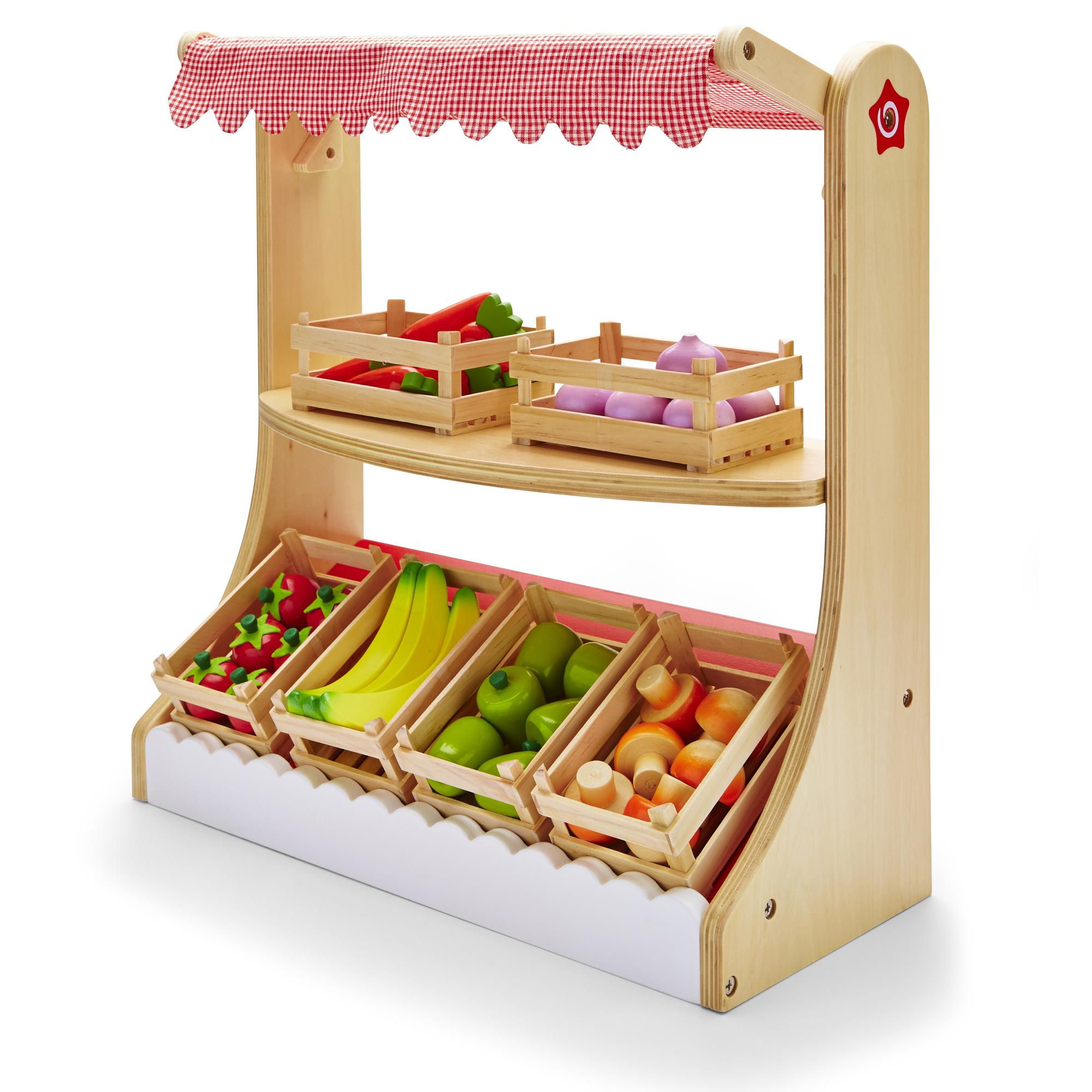 Wooden Market Stall & Wood Fruit & Vegatables Childrens Kids Shop