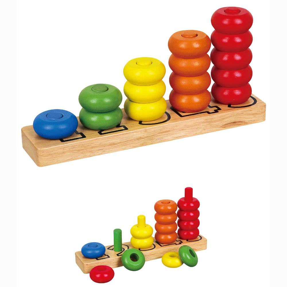 Kids Stacking Toys : Wooden counting numbers stacking rings activity wood tower