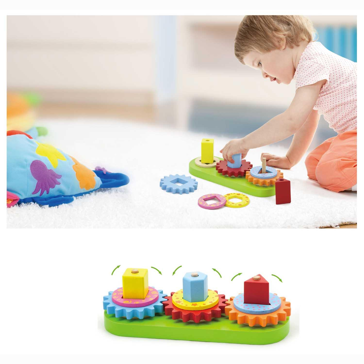 Stacking Toy Puzzles : Wooden turning gears stacking rings shape sorting activity