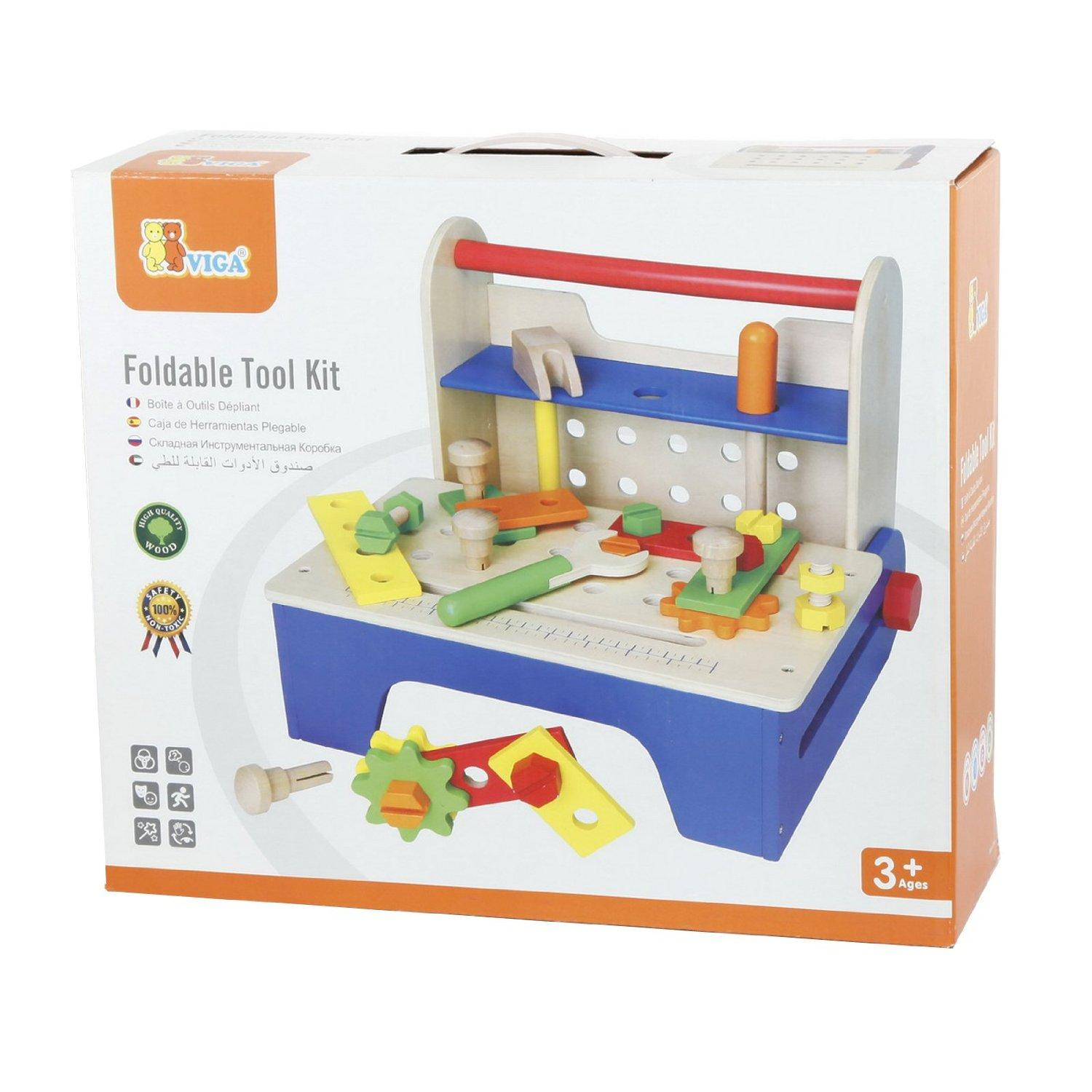 Toy Tool Kits For Boys : New childrens kids wood play toy tool bench box kit set