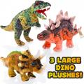 Prehistoric World Set of 3 Plush Dinosaurs